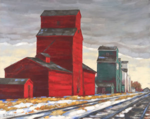 Alberta Elevators, oil, 16x20, framed, SOLD