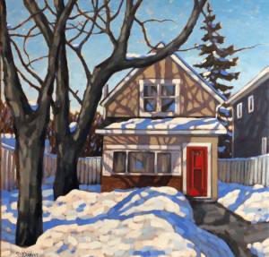 Small House with Red Door, oil, 24x24, framed, $1490