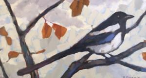 Magpie 1, oil, 7x12, framed, $350