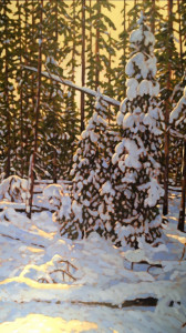 Winter Spruce, oil, 48x24, SOLD
