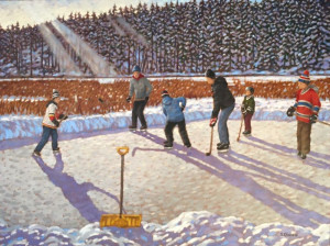 Pond Hockey, oil, 30x40, framed, SOLD