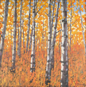Fall Aspen Forest, oil,24x24, framed, SOLD