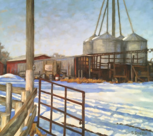 Springbank Farm, oil, 16x18, framed, $970