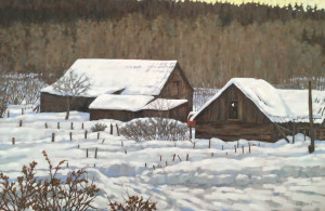 Old Farm, oil, 24x36, framed, SOLD