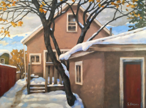 Warm Winter Day, oil,18x24, framed, SOLD