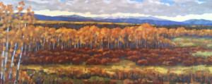 Autumn Foothills, oil, 12x30, framed, $995