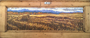 Alberta Farm, 14.25x43.75, oil on antique 1890s pine door, SOLD