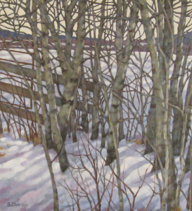 Trees Along the Fence Line, oil, 20x16, framed, SOLD