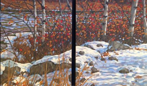 Trees Along the River, oils, 30x48, diptych, SOLD