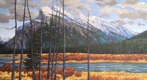 Mount Rundle, oil, 24x48, framed, SOLD
