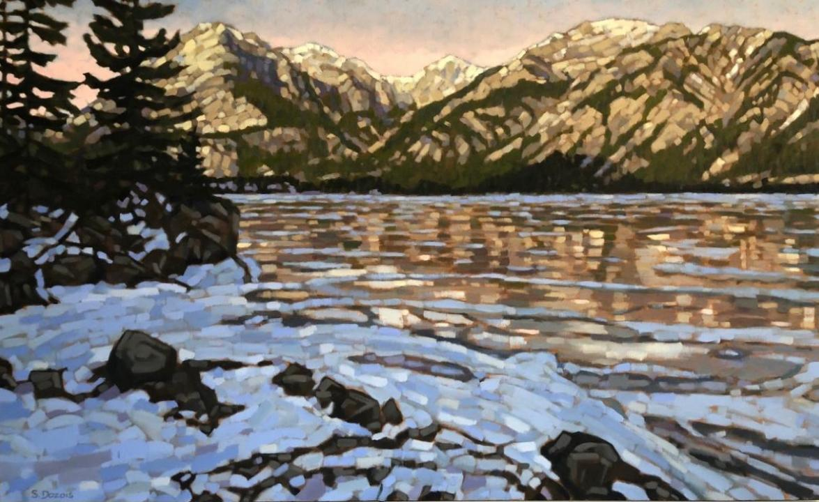 Icy Reflections, Lac Des Arc, Canmore, oil, 30x48, framed, $3100
