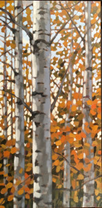 Fall Aspens, oil, 30x15, framed, SOLD