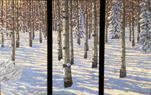 Winter Aspens, oil, 30x45, Triptych, SOLD