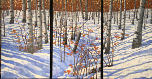 Silent Snow, oil, 40x72, framed, triptych, SOLD