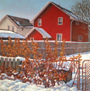 Red House, oil, 24x24, framed, SOLD