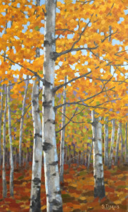 Fall Aspens, oil, 30x18, SOLD