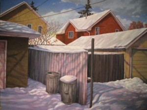 Alley, oil, 30x40, framed, SOLD
