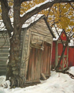 Old Garage, oil, 30x24, framed, SOLD