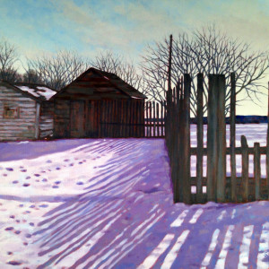 Farm Fence, oil, 24x24, framed, SOLD