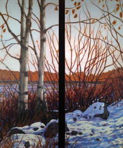 Aspens on the Bow, oil, Diptych, SOLD