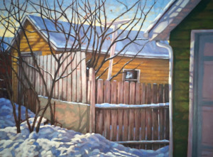 Yellow Garage, oil, 30x40, framed, $2380